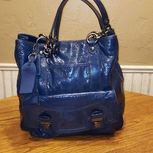 Coach Poppy Navy Patent Leather Hobo Bag